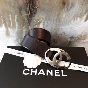 Chanel Brown Leather CC Silver Buckle Belt 90